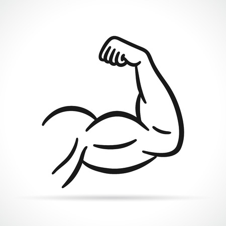 Vector illustration of muscular arm black icon