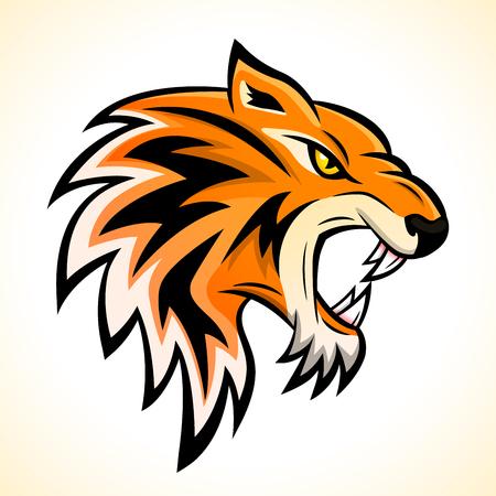 Ilustración de vector de concepto de mascota de cabeza de tigre