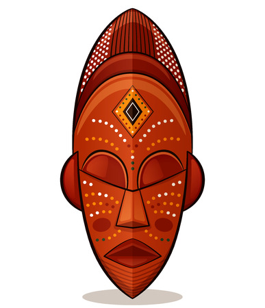Vector illustration of african mask wood concept  イラスト・ベクター素材