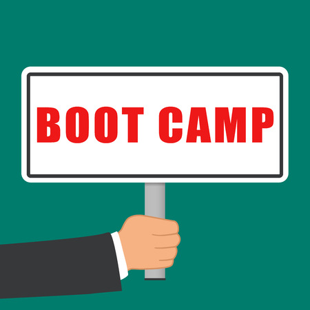 Illustration of boot camp sign flat concept