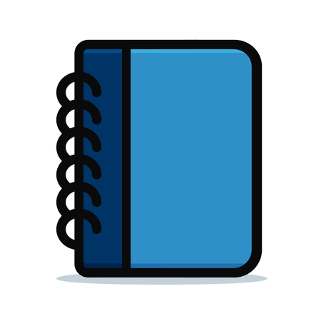 Vector illustration of diary blue design icon