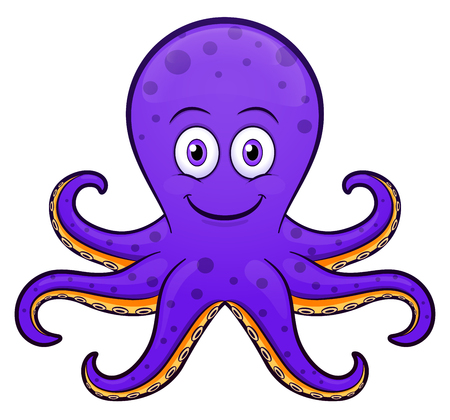 Vector illustration of octopus cartoon purple design Illusztráció