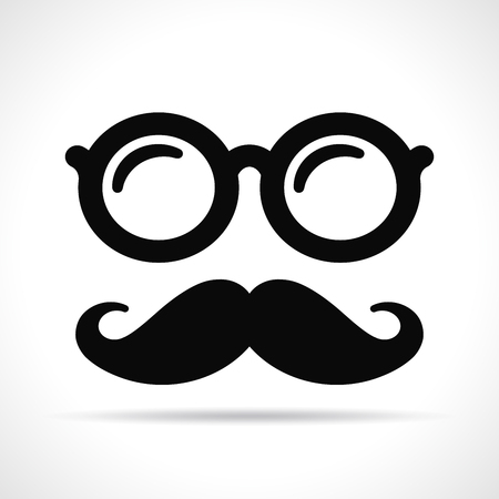 Vector illustration of mustache and eye glasses