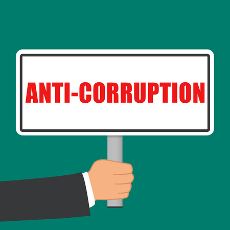 Illustration of anti corruption sign flat concept Ilustração