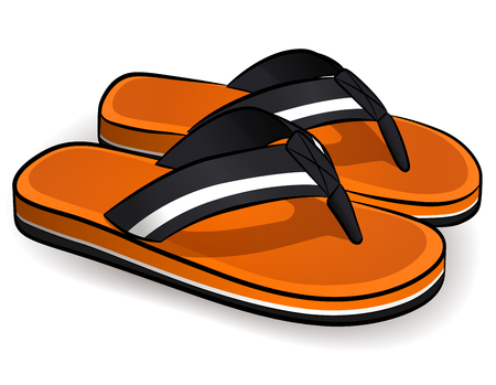 Vector illustration of flip flops orange design Ilustração