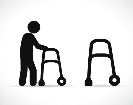 Vector illustration of walker disabled black icons