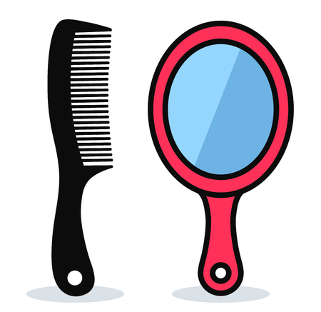 Vector illustration of comb and mirror design