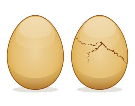 Vector illustration of eggs on white background Ilustração