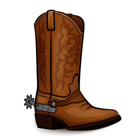 Illustration vectorielle de conception marron de botte de cowboy Vecteurs