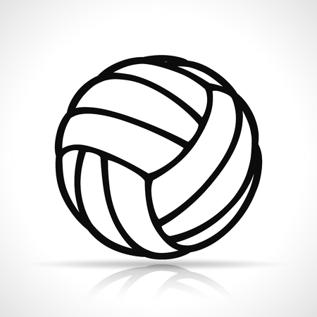 Vector illustration of volleyball ball black icon