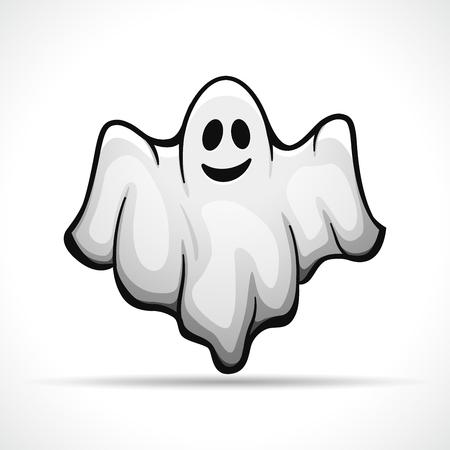 Illustrazione vettoriale di fantasma su sfondo bianco Vettoriali