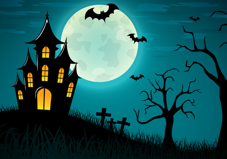 Vector illustration of halloween castle background design