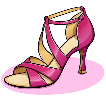 Illustrazione vettoriale di design scarpa donna rosa