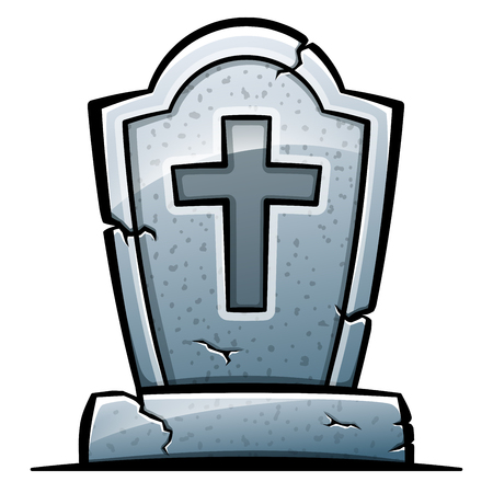 Vector illustration of tombstone on white background Ilustração