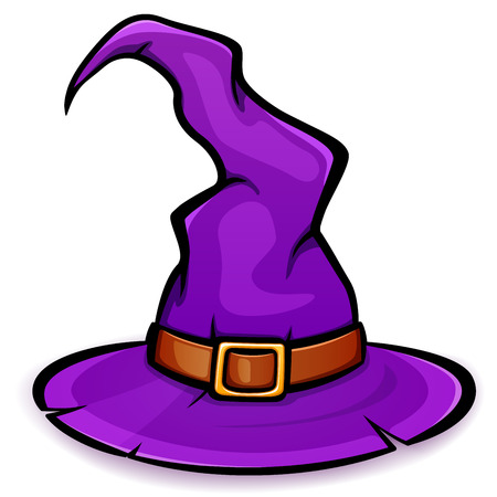 Vector illustration of purple witch hat design
