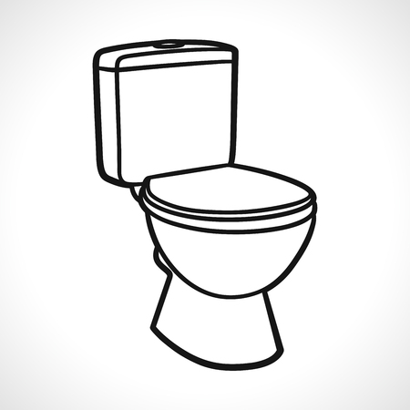 Vector illustration of toilets on white background