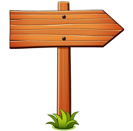 Vector illustration of direction wood sign cartoon