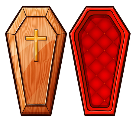 Vector illustration of coffin on white background Ilustração