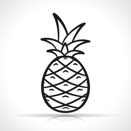 Vector illustration of pineapple on white background