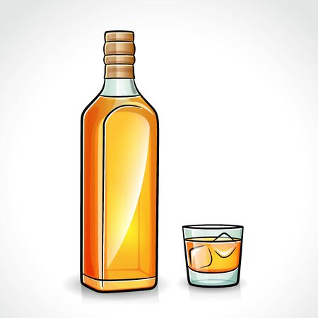 Vector illustration of whiskey bottle with glass