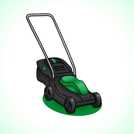 Vector illustration of lawn mower drawing isolated