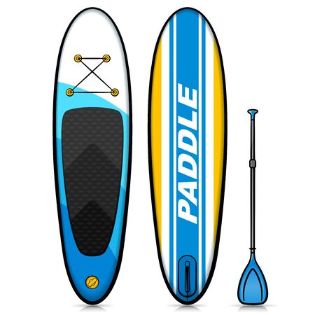 Vector illustration of stand up paddle drawing Vecteurs