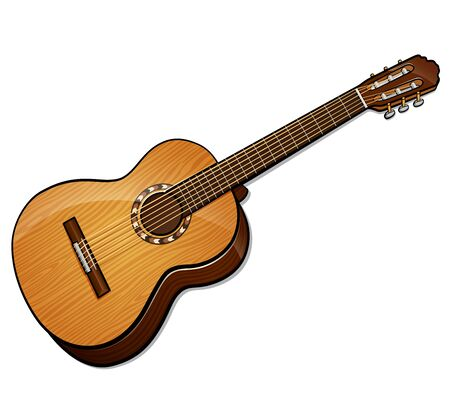 Vector illustration of classical guitar isolated design
