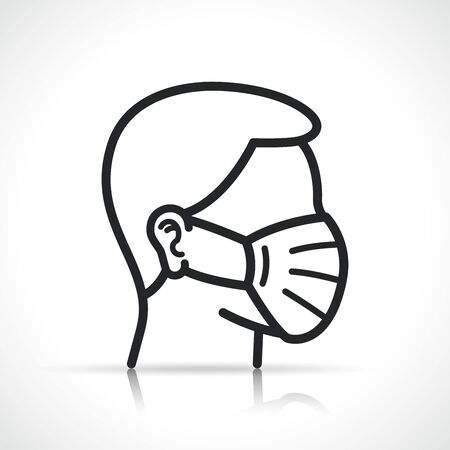 Vector illustration of medical mask icon symbol