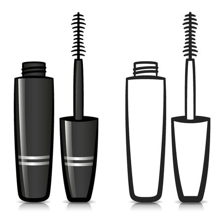Vector illustration of mascara design and icon