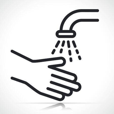 Vector illustration of washing hands symbol icon