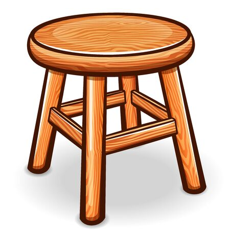 Vector illustration of cartoon wooden stool isolated