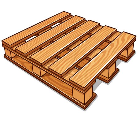 Vector illustration of cartoon wood pallet isolated