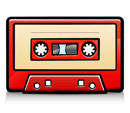 Vector illustration of vintage audio tape cartoon 向量圖像