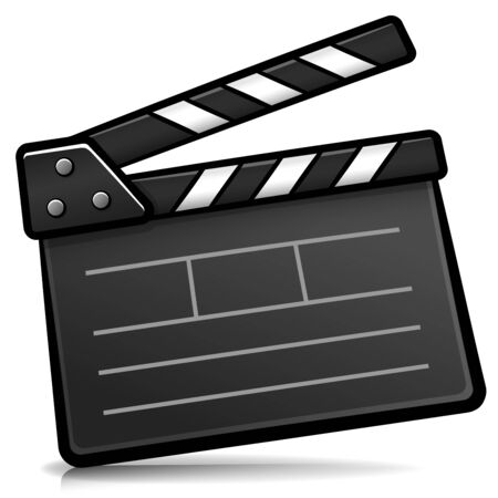 Vector illlustration of cinema clapperboard cartoon isolated