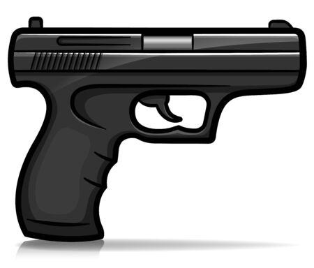Vector illustration of hand gun cartoon isolated