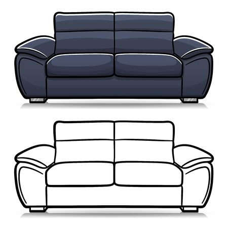 Vector illustration of sofa couch cartoon isolated Illustration