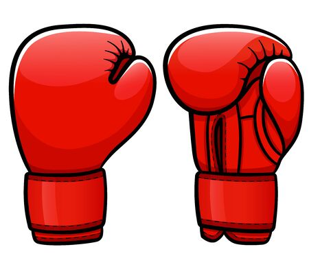 Vector illustration of boxing gloves cartoon isolated Illustration