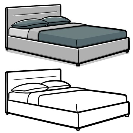 Vector illustration of double bed cartoon isolated