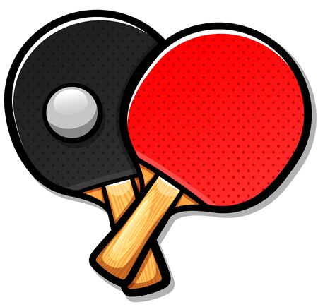 Vector illustration of table tennis paddles cartoon