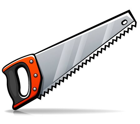 Vector illustration of hand saw cartoon isolated