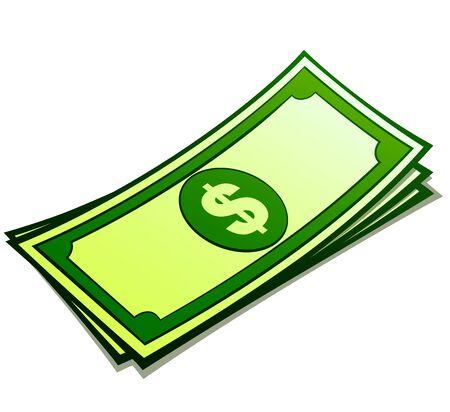 Vector illustration of money bills cartoon isolated