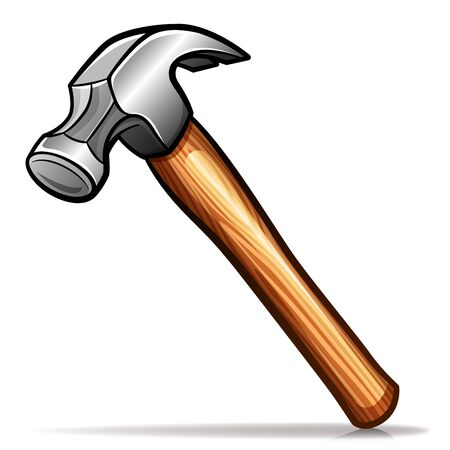 Vector illustration of hammer cartoon icon isolated