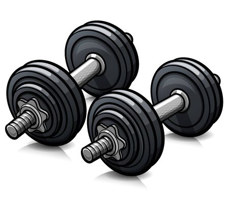 Vector illustration of dumbbells cartoon icon isolated