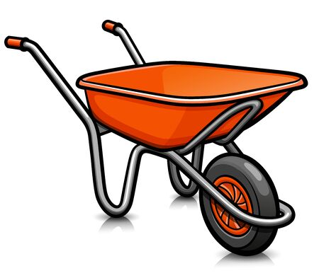Vector illustration of whellbarrow cartoon icon isolated