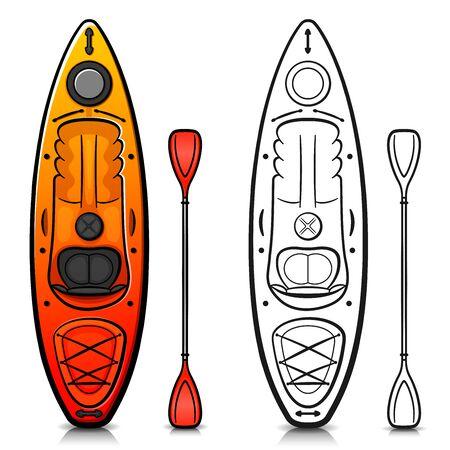 Vector illustration of kayak cartoon isolated design