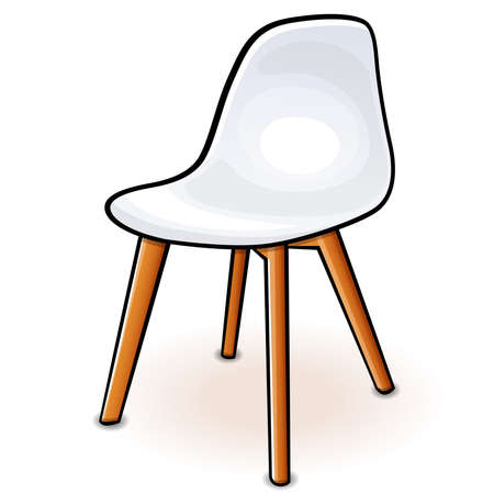 Vector illustration of white hull chair cartoon