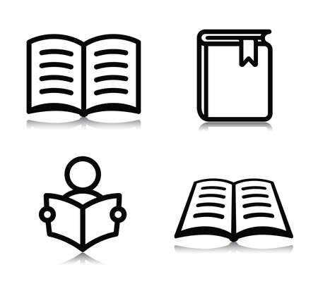 Vector illustration of book icons on white background Illustration