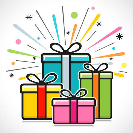 Vector illustration of gift box happy design