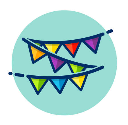 Vector illustration of party bunting color icon