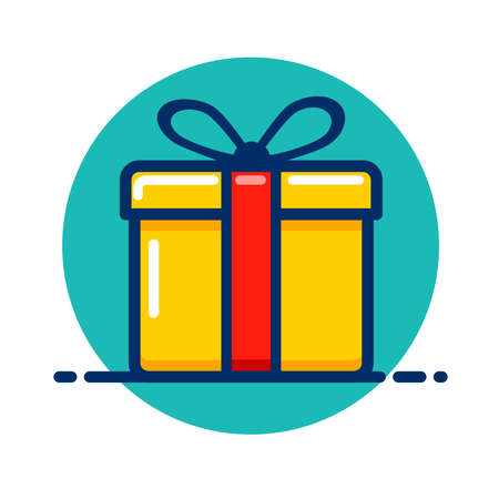 Vector illustration of gift box color icon